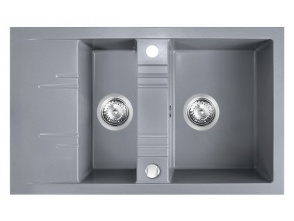 Novaservis Granitový dřez s vaničkou a odkapem, s přepadem, šedá DRGM3/48/79GA