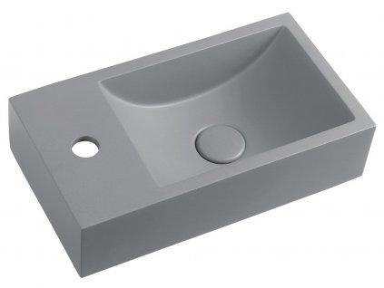 Sapho CREST L AR407 betonové umyvadlo včetně výpusti 40 x 22 cm šedá