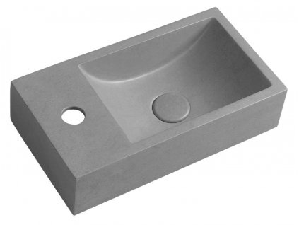 Sapho CREST L AR406 betonové umyvadlo včetně výpusti 40 x 22 cm šedá žíhaná