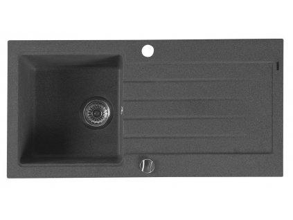 Sapho 86 x 43,5 cm GR1604 dřez granitový černá