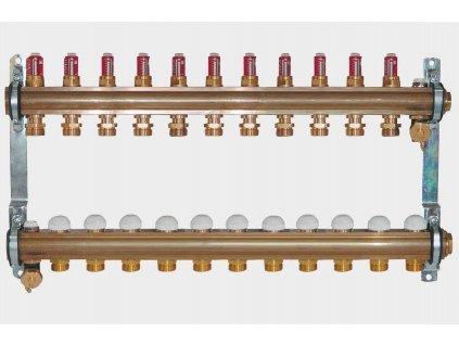 """HERZ 11 okr. G1"""" 1853211 mosazný rozdělovač pro podlahové topení"""