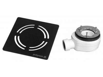 Polysan FLEXIA vaničkový sifon průměr 90 mm DN40 krytka černá 10382