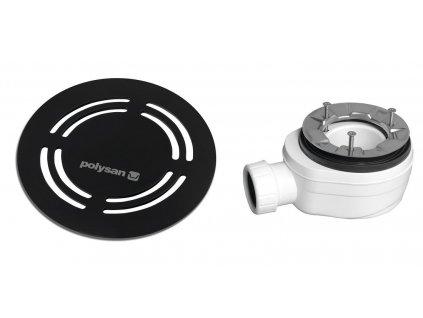 Polysan FLEXIA vaničkový sifon průměr 90 mm DN40 kulatá krytka černá 91432