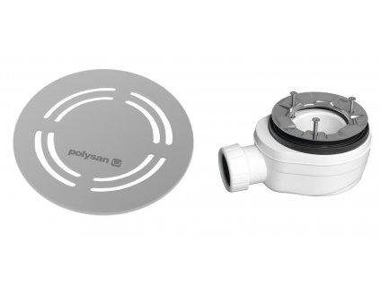 Polysan FLEXIA vaničkový sifon průměr 90 mm DN40 kulatá krytka nerez 91412
