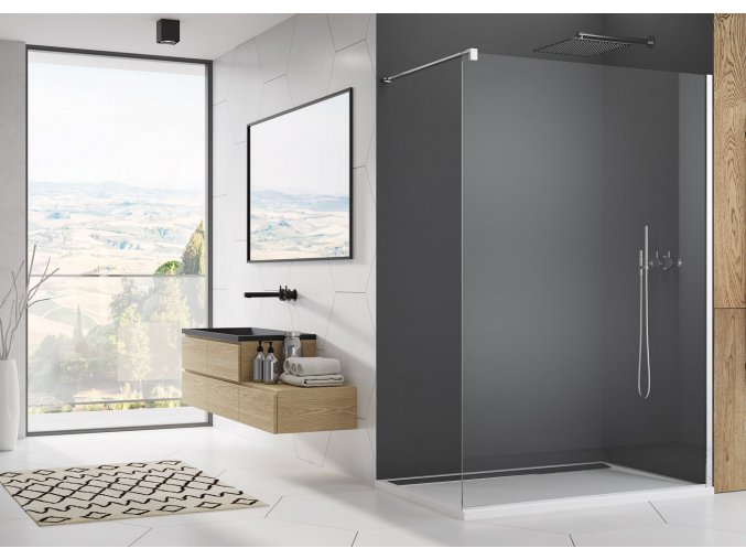 SanSwiss Easy STR4P | Walk In stěna 90x200 cm, sklo čiré