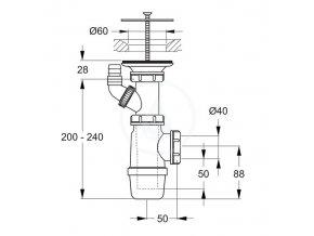 Ideal Standard D5870AA Sifon vč. krytky odpadu, chrom