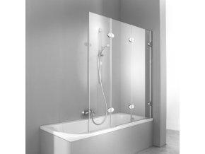 hueppe 2003 a badewannenabtrennung 3teilig b 142 h 148 cm rechtsbefestigung klarglas titan silber p hue 2003a 527322 0