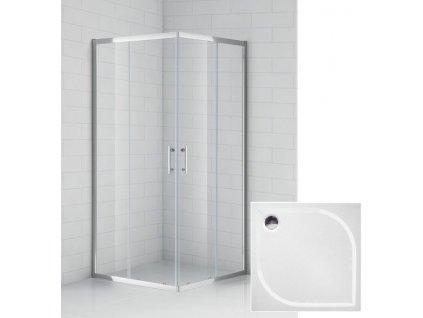 Čtvercový sprchový kout 80x80 cm s protiskluzovou vaničkou z litého mramoru | koupelnyross
