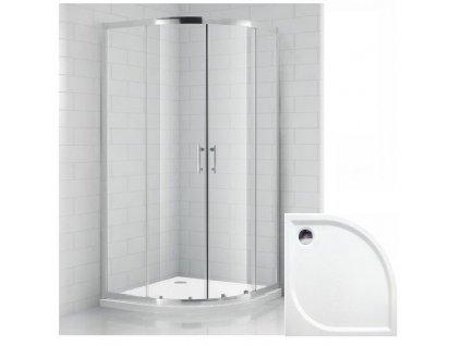Čtvrtkruhový sprchový kout OBR 90x90 cm s vaničkou z litého mramoru | koupelnyross