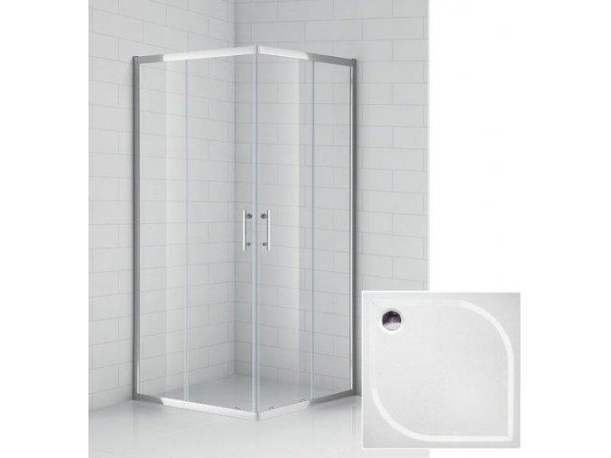 Čtvercový sprchový kout 90x90 cm s protiskluzovou vaničkou z litého mramoru   koupelnyross.cz