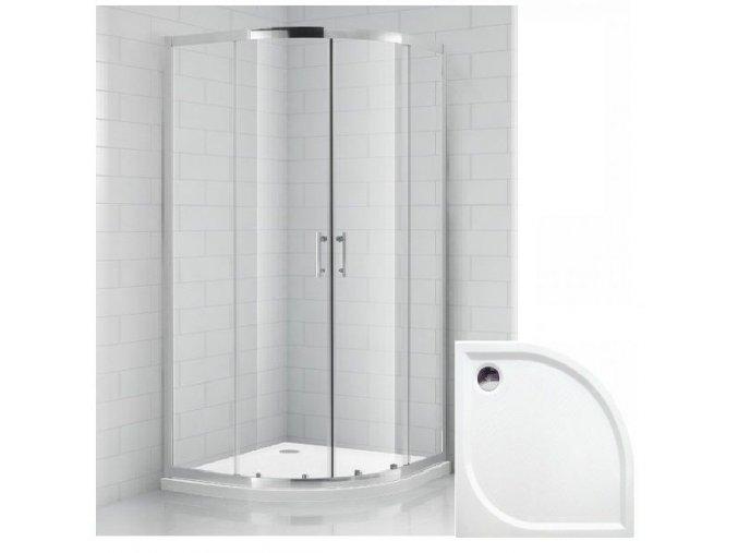 Čtvrtkruhový sprchový kout REAL 80x80 cm s vaničkou z litého mramoru   koupelnyross.cz