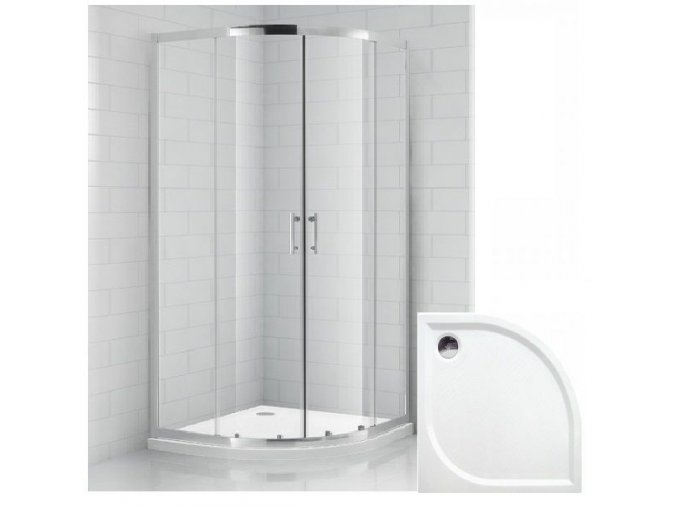 Čtvrtkruhový sprchový kout OBR 90x90 cm s vaničkou z litého mramoru | koupelnyross.cz