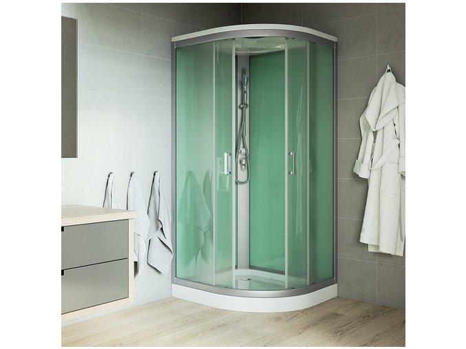 CK35122BS-Sprchový box, R550, 90 x 90 x 221 cm, profily satin, se stříškou | koupelnyross.cz