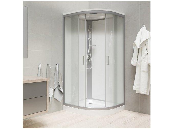 CK35122MSW Sprchový box, čtvrtkruh, 90 cm, R550, profily satin, sklo Point, záda bílá,se stříškou, litá vanička | koupelnyross.cz