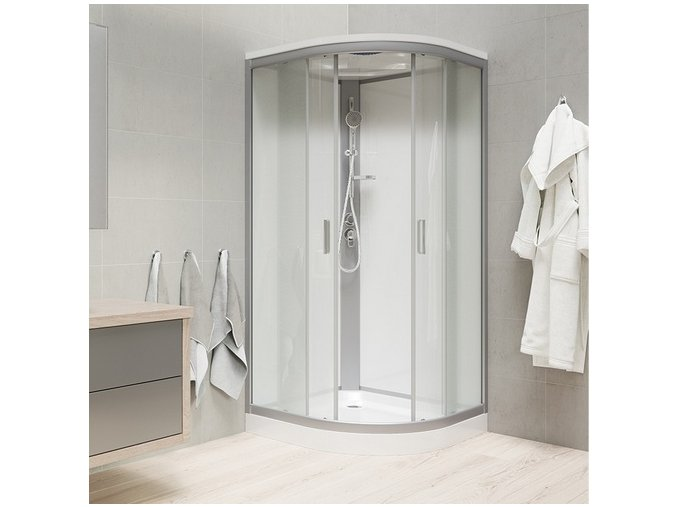 CK35162MSW Sprchový box, čtvrtkruh,100 cm, R550, profily satin, sklo Point, záda bílá,se stříškou, litá vanička | koupelnyross.cz