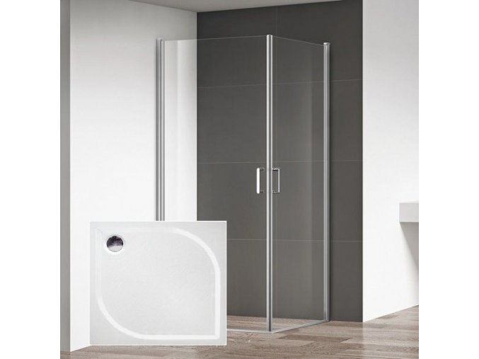 Boston 100x80 - obdélníkový sprchový kout, čiré sklo 6 mm s vaničkou | koupelnyross.cz