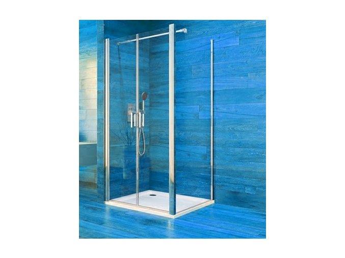 Sprchový dvoukřídlový čtvercový kout COOL 100 cm, rám chrom ALU   koupelnyross.cz