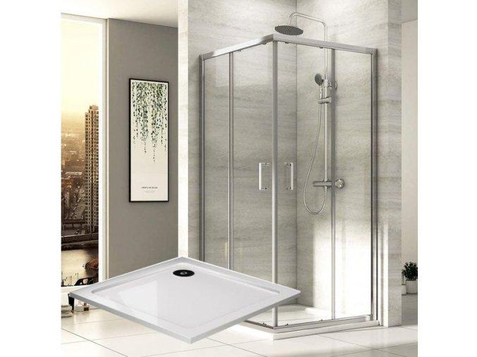 Čtvercový sprchový kout ROSS Comfort 90 s vaničkou z litého mramoru | koupelnyross.cz