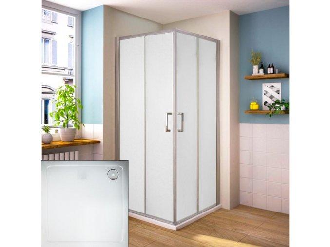 Čtvercový sprchový kout ROSS Comfort 90 s vaničkou z litého mramoru, sklo grape | czkoupelna.cz