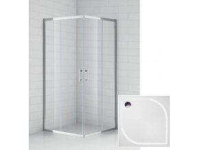 ČČtvercový sprchový kout BOSS 80x80 cm s vaničkou z litého mramoru | koupelnyross.cz