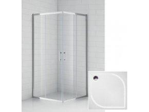 Čtvercový sprchový kout BOSS 90x90 cm s vaničkou z litého mramoru | koupelnyross.cz
