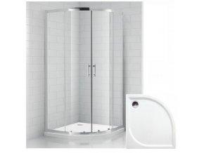 Čtvrtkruhový sprchový kout REAL 80x80 cm s vaničkou z litého mramoru | koupelnyross.cz
