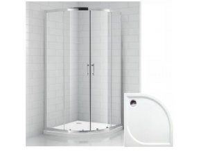 Čtvrtkruhový sprchový kout REAL 90x90 cm s vaničkou z litého mramoru   koupelnyross.cz