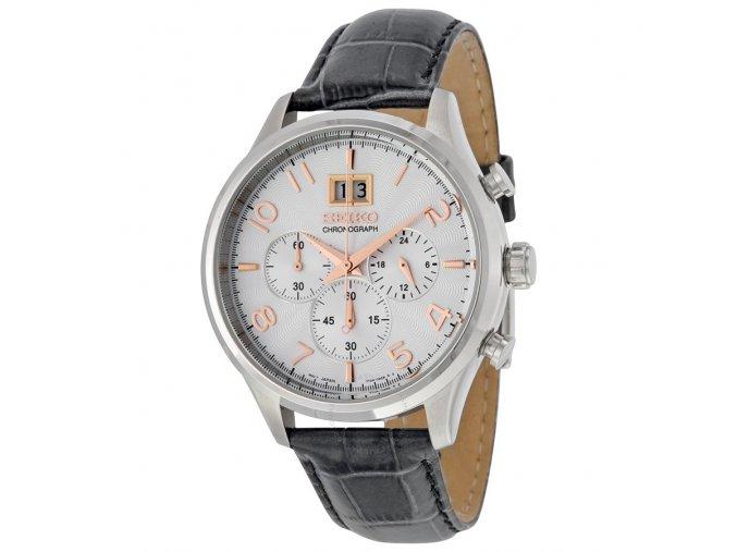 seiko silver dial chronograph gray leather mens watch spc087