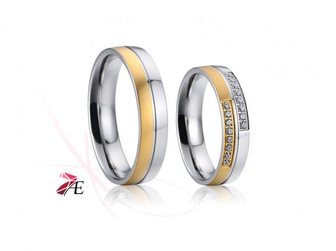 Ocelové snubní prsteny - 022 - David a Victorie