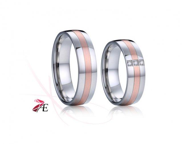 Ocelové snubní prsteny s brilianty - 034 - Perikles a Aspasia