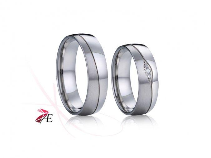 Ocelové snubní prsteny s brilianty - 035 - Quasimodo a Esmeralda