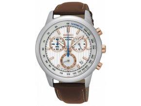 seiko ssb211p1 men s chronograph stainless steel case brown leather strap 100m wr ssb211