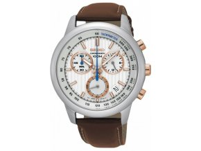 seiko ssb211p1 men s chronograph stainless steel case brown leather strap 100m wr ssb211