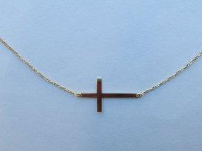 Zlatý náhrdelník s křížkem žlutý (2)