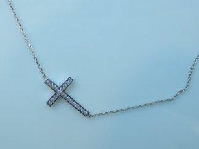 Zlatý náhrdelník s křížkem bílý (1)