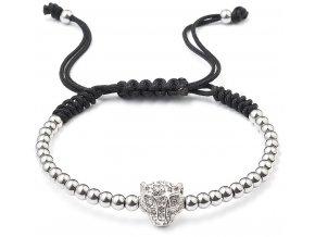 Korálkový náramek s krystaly 43016.3 stříbrný leopard
