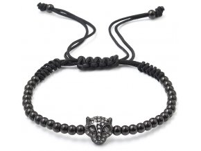 Korálkový náramek s krystaly 43016.3 černý leopard