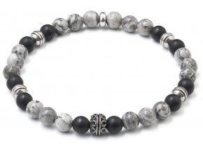 Korálkový náramek šedý jaspis-černý matný achát 43011.3