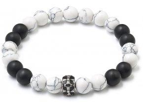 Korálkový náramek bílý magnezit, černý matový achát 43002.3