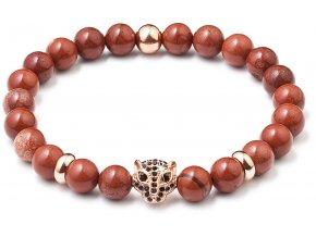 Korálkový náramek červený achát 43017.3 leopard