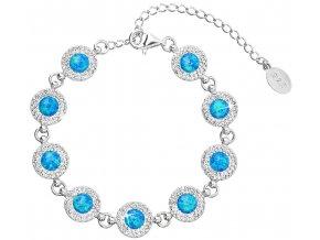 Stříbrný náramek se syntetickým opálem a krystaly Swarovski modrý 33105.1