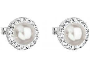 Stříbrné náušnice s krystaly Swarovski a bílou perlou 31214.1