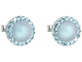 Stříbrné náušnice s krystaly Swarovski a světle modrou perlou 31214.3