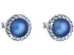 Stříbrné náušnice s krystaly Swarovski a tmavě modrou perlou 31214.3