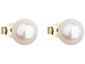 Zlaté náušnice pecky s bílou říční perlou 921042.1