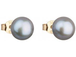 Zlaté náušnice pecky s šedou říční perlou 921042.3