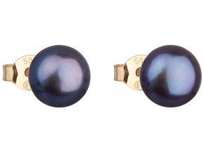 Zlaté náušnice pecky s modrou říční perlou 921042.3