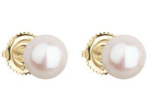 Zlaté náušnice pecky s bílou říční perlou 921004.1