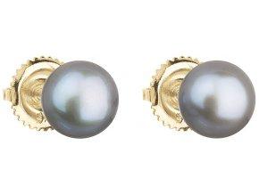 Zlaté náušnice pecky s šedou říční perlou 921004.3