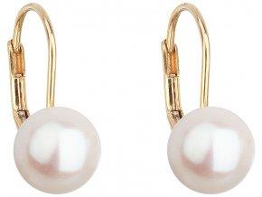 Zlaté náušnice visací s bílou říční perlou 921009.1